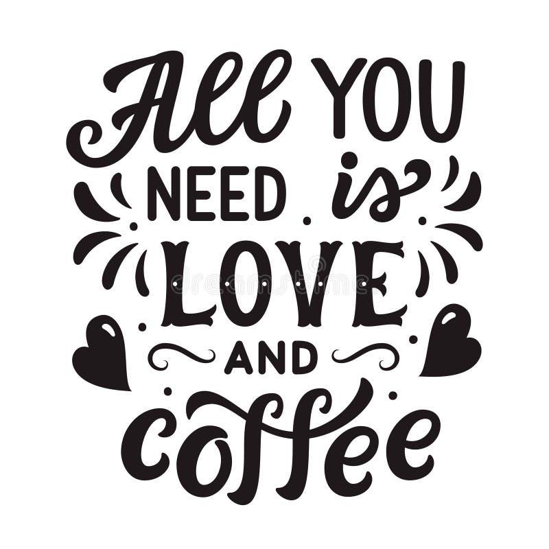 Allen u wenst is liefde en koffie royalty-vrije illustratie