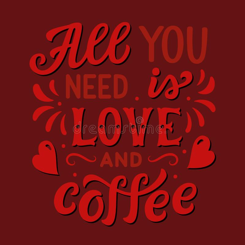 Allen u wenst is liefde en koffie vector illustratie