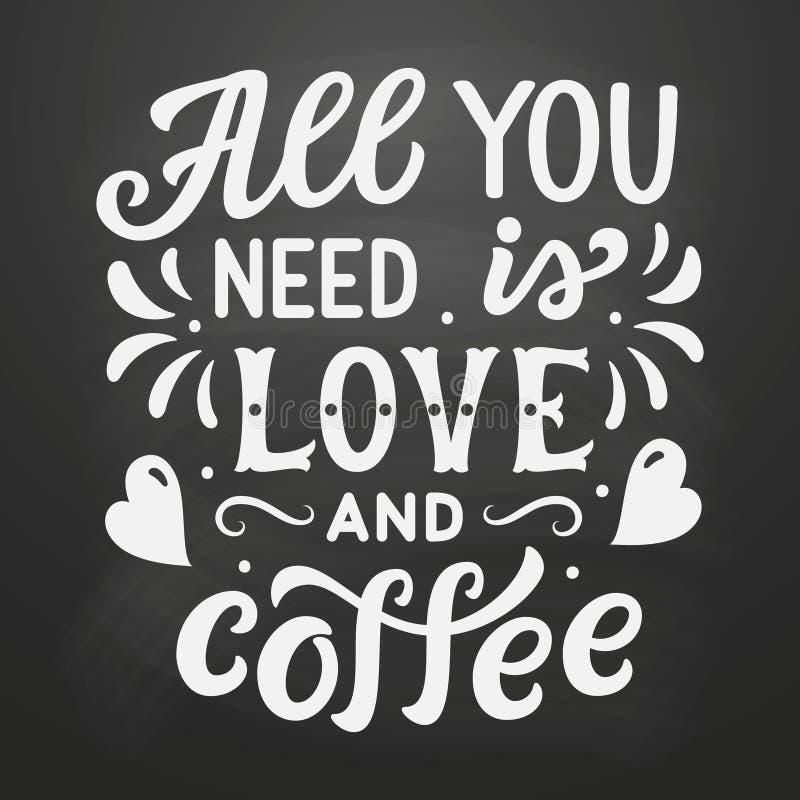 Allen u wenst is liefde en koffie stock illustratie