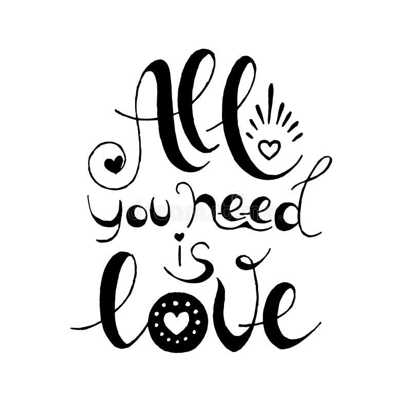 Allen u wenst is Liefde Hand getrokken typografieaffiche voor de dag van de valentijnskaart vector illustratie