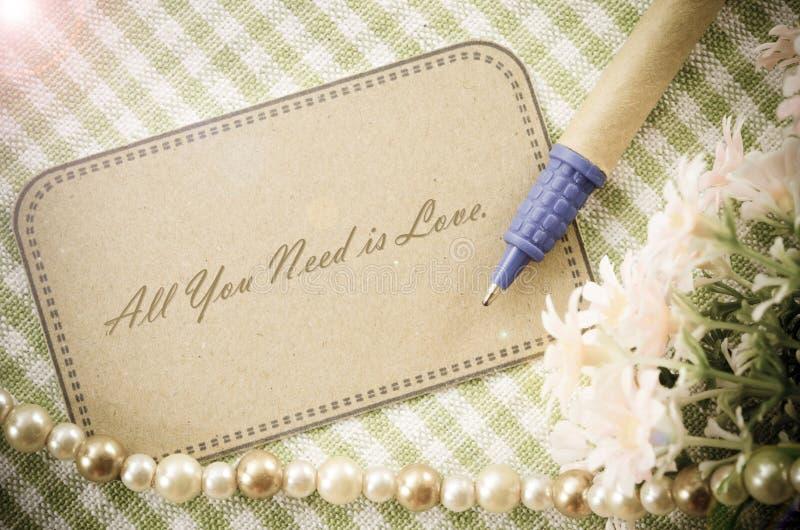 Allen u wenst is liefdebericht stock afbeelding