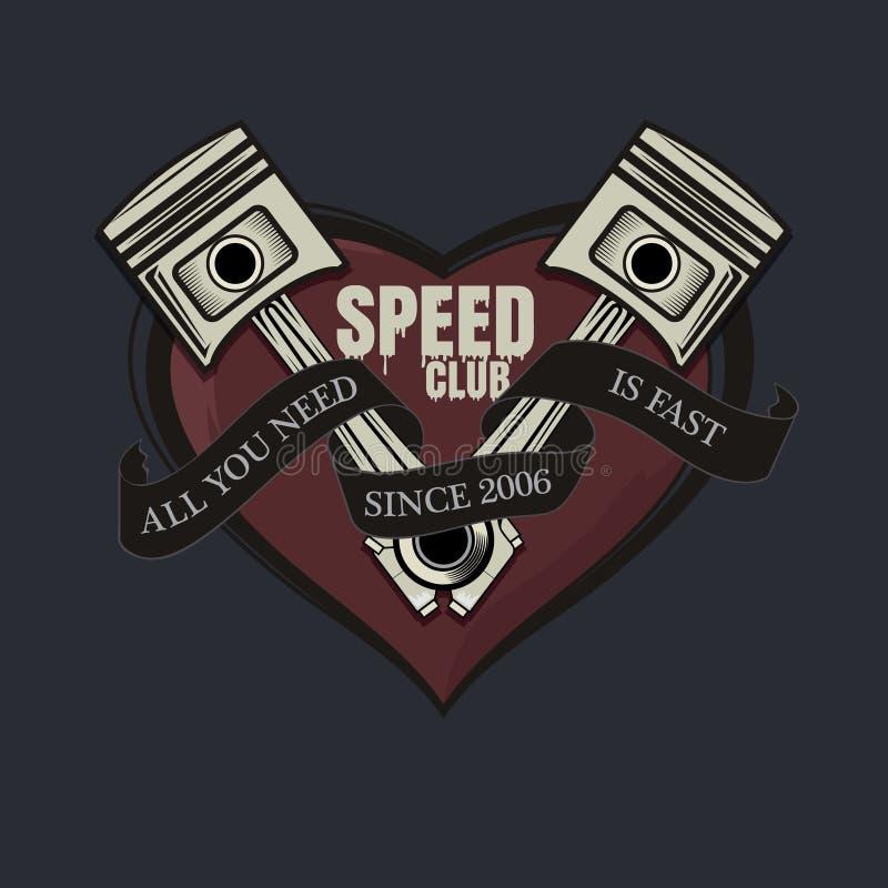 Allen u wenst is snel grafisch T-stuk, snelheidsclub grafisch voor t-shirt, affiche royalty-vrije illustratie