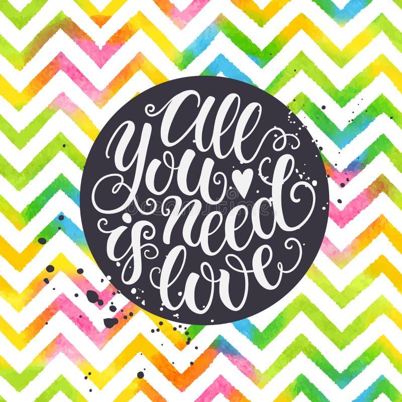 Allen u wenst is van de de hand de van letters voorziende waterverf van de liefdekrabbel romantische achtergrond Het ontwerpmalpl vector illustratie