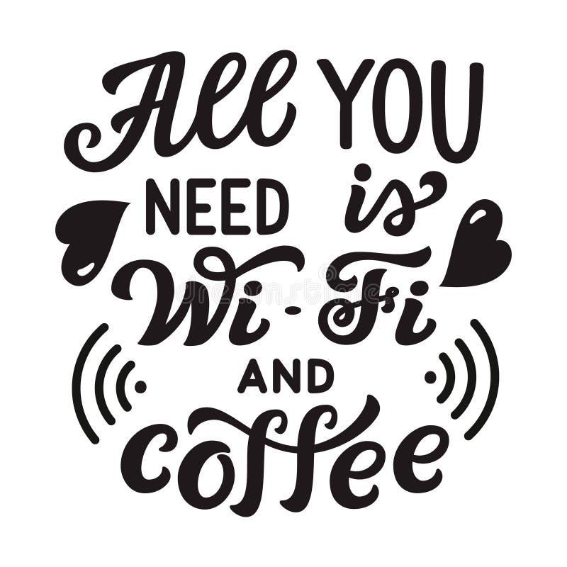 Allen u wenst is WiFi en koffie vector illustratie