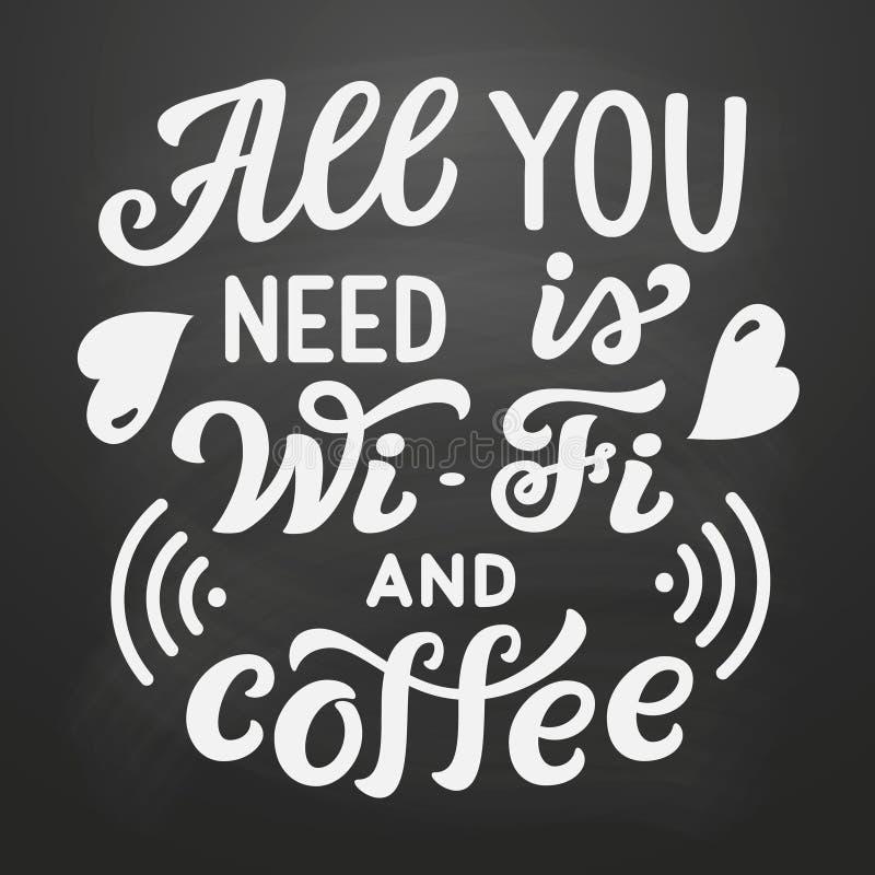 Allen u wenst is WiFi en koffie stock illustratie