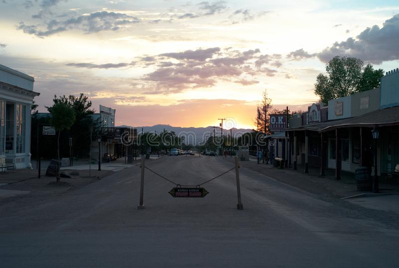 Allen ulica w nagrobku przy zmierzchem zdjęcia royalty free