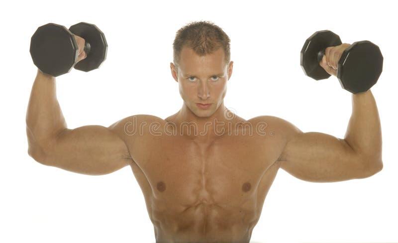 Allenamento del braccio del costruttore di corpo fotografia stock