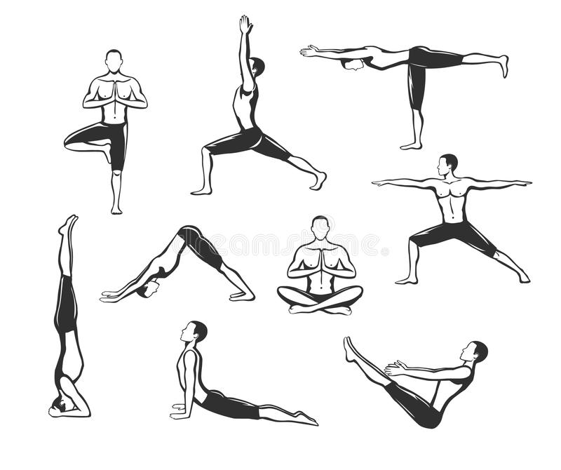 Allenamento di yoga Siluette di un uomo in albero, Sirsasana, barca, guerrieri uno, due, tre, verso il basso e cane ascendente de illustrazione di stock