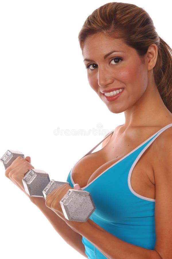 Allenamento libero sexy del peso fotografia stock
