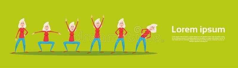 Allenamento senior dell'insieme di esercizio di forma fisica di sport della donna illustrazione di stock