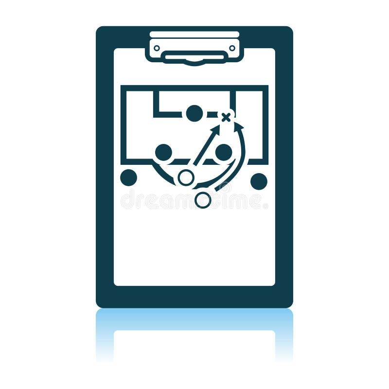 Allenatore compressa di calcio con lo schema dell'icona del gioco royalty illustrazione gratis
