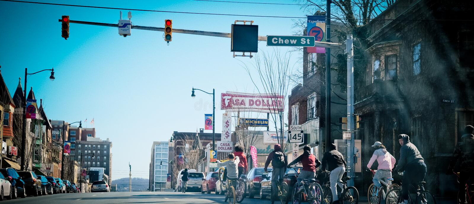 Allentown downtown street. Allentown, Pennsylvania, United States, March 18 2018: Allentown downtown street royalty free stock image