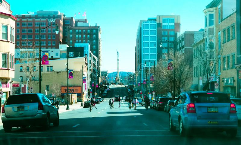 Allentown downtown street. Allentown, Pennsylvania, United States, March 18 2018: Allentown downtown street royalty free stock photos