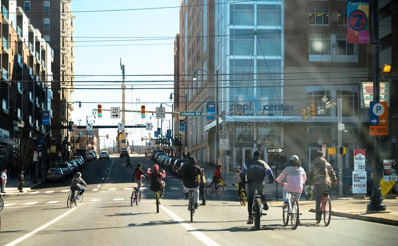 Allentown i stadens centrum gata royaltyfri foto