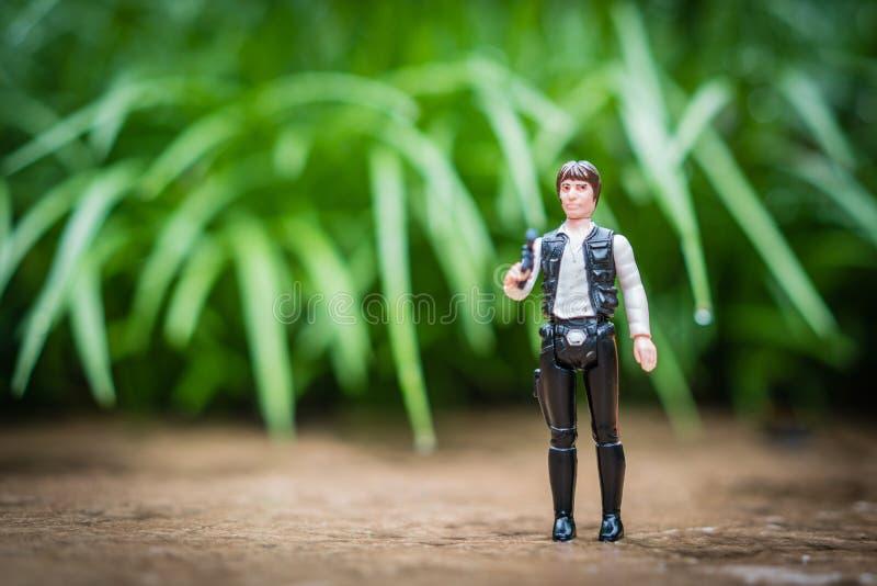 Allentown, Pennsylvania U S A -- 24 de octubre de 2018: Figura de acción de Star Wars, cazador de tesoros Kenner de Han Solo del  imagen de archivo