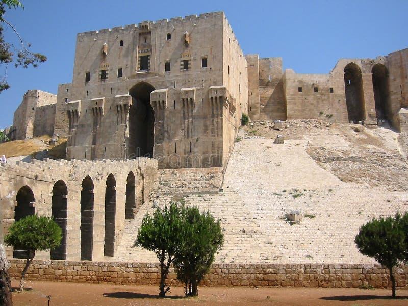 Allepo城堡有历史的叙利亚 免版税库存图片