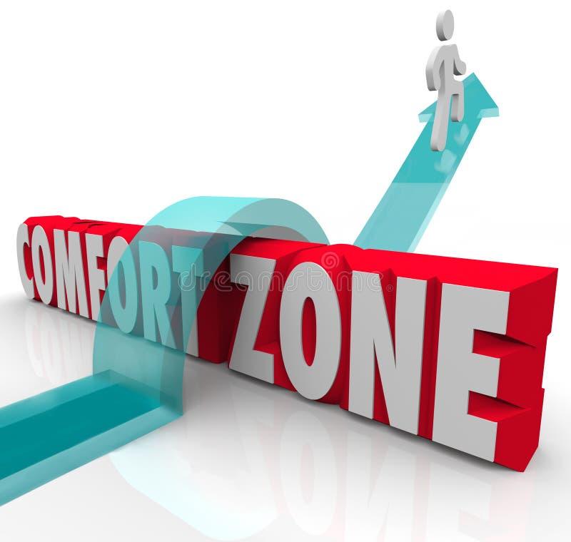 Aller dehors au-dessus d'une expérience différente d'essai de zone de confort se développent illustration libre de droits