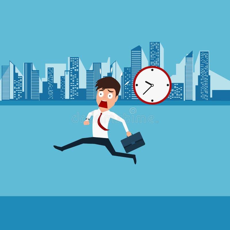 Aller fonctionnant de hâte d'homme d'affaires travailler Temps en retard illustration de vecteur