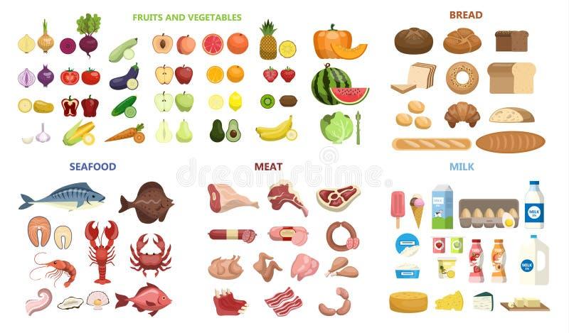 Aller Lebensmittelsatz lizenzfreie abbildung