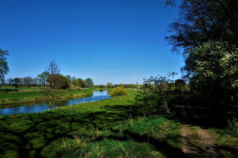 The aller river bend in Lower Saxony. Germany stock image