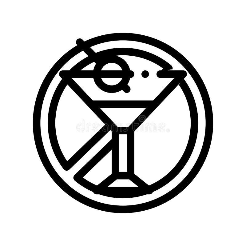 Allergen alkoholu Bezpłatnego Szyldowego wektoru Cienka Kreskowa ikona ilustracja wektor
