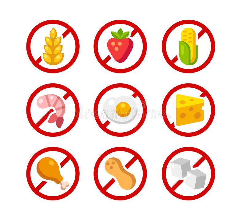 Allergen free icons. Set of ingredient warning icons with common allergens: gluten, dairy, shellfish, peanuts, eggs and more royalty free illustration