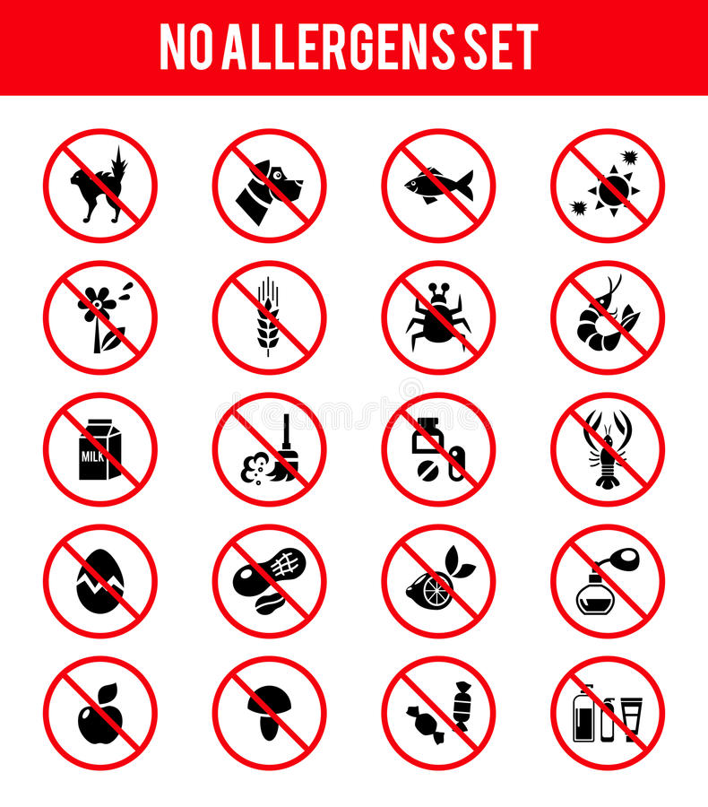 Allergen free products icons royalty free illustration