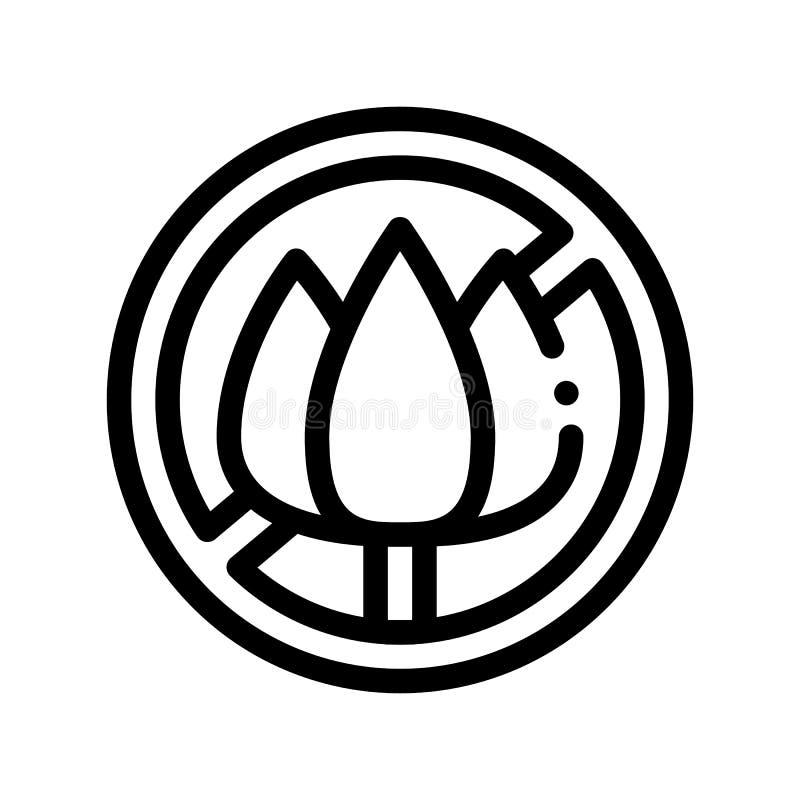 Allergen-freier Zeichen-Blumen-Vektor-dünne Linie Ikone vektor abbildung