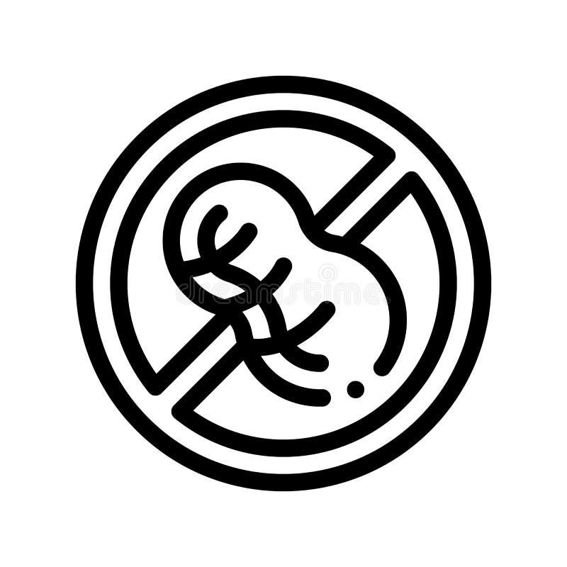 Allergen-freier Zeichen-Erdnuss-Vektor-dünne Linie Ikone stock abbildung
