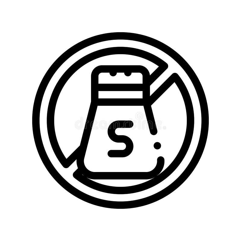 Allergen pikantności soli Bezpłatnego wektoru Cienka Kreskowa ikona ilustracja wektor