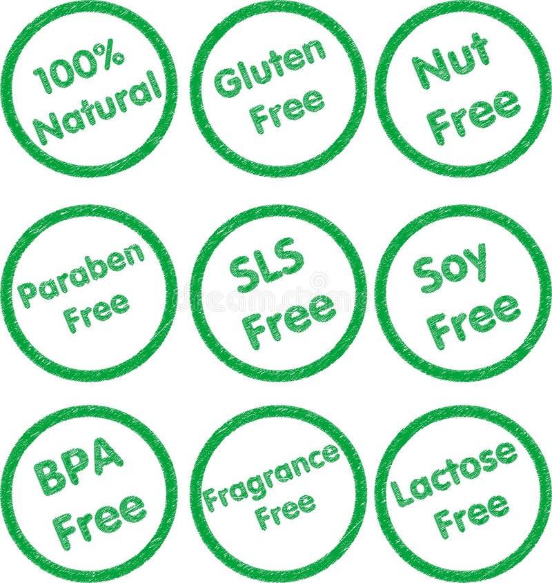 Allergen Rubber Stamp Set - Green. A set of green rubber stamps for common allergens stock illustration