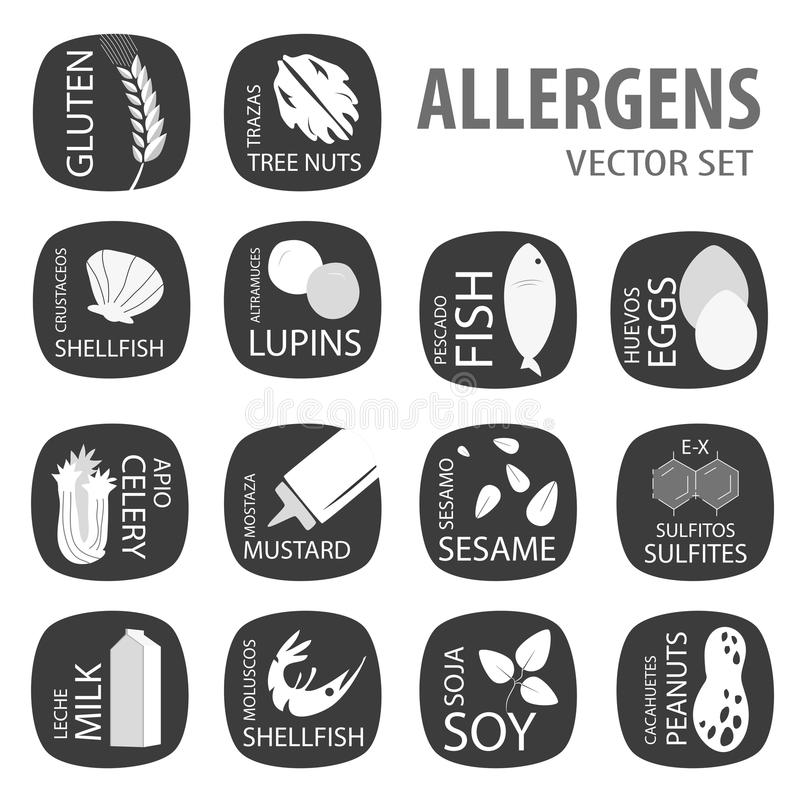 Allergens black set. Food allergies icons vector set stock illustration