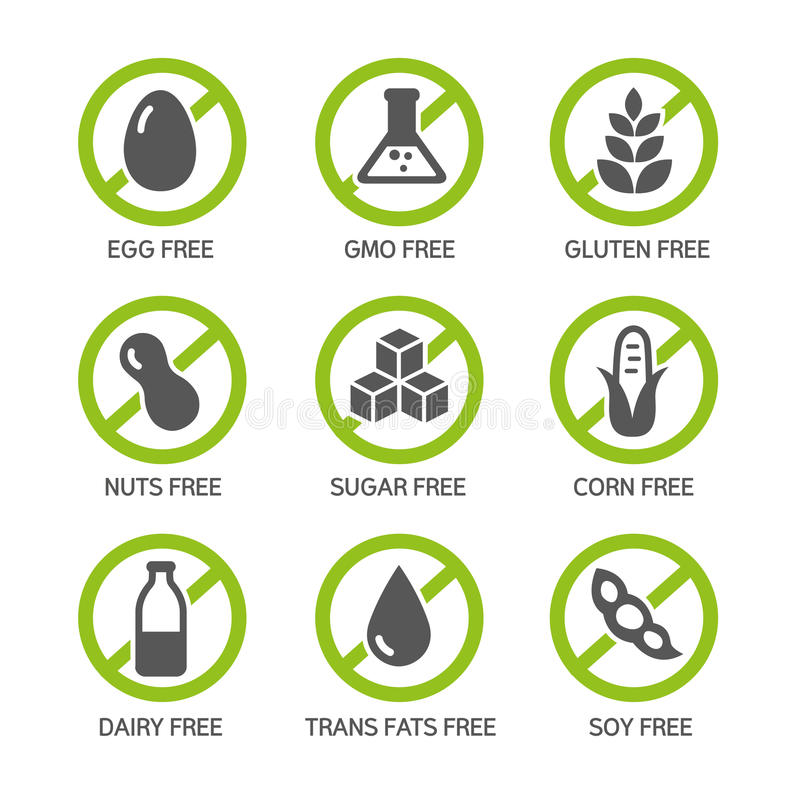 Allergens Icons. Set of food labels - allergens, GMO free products