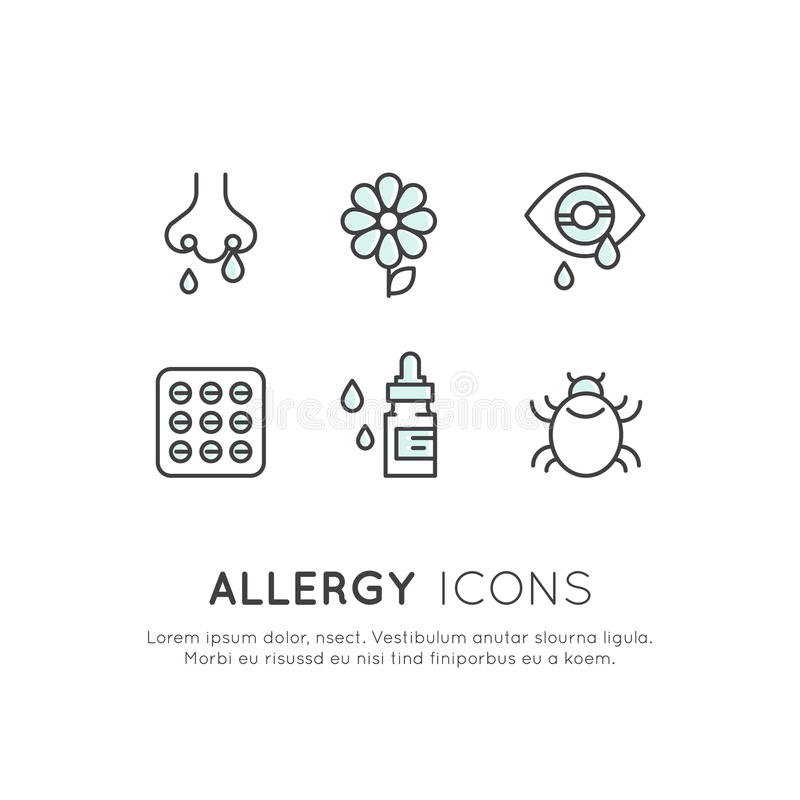 Allergens, Season or Spring Illness, Unwell, Allergy and Intolerance stock illustration