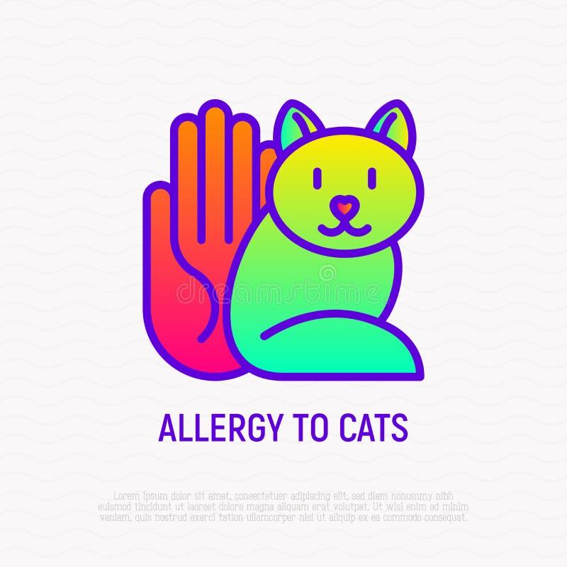 Allergia alla linea sottile icona del gatto royalty illustrazione gratis