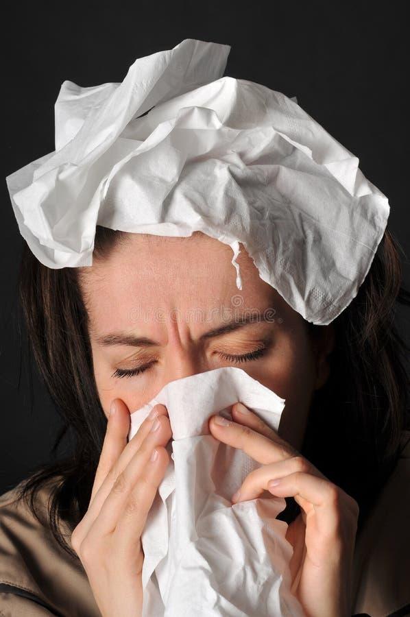 allergicoldinfluensa arkivbilder
