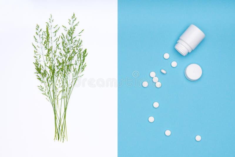 allergie Allergenen, antihistaminpillen, seizoengebonden allergieën De minimale vlakte legt de allergie van het grasstuifmeel royalty-vrije stock fotografie
