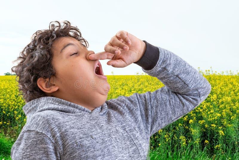 Allergie de pollen Danger, garçon de Tennage éternuant dans un pré de fleurs Concept : allergie saisonnière photographie stock