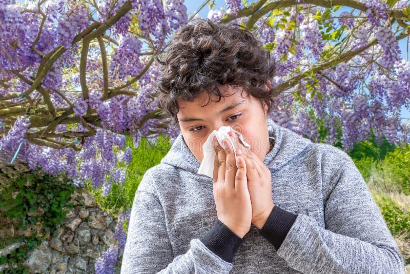 Allergie de pollen Danger, garçon de Tennage éternuant dans un pré de fleurs Concept : allergie saisonnière photographie stock libre de droits
