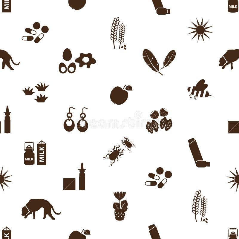 Allergie et modèle sans couture d'icônes d'allergènes illustration stock