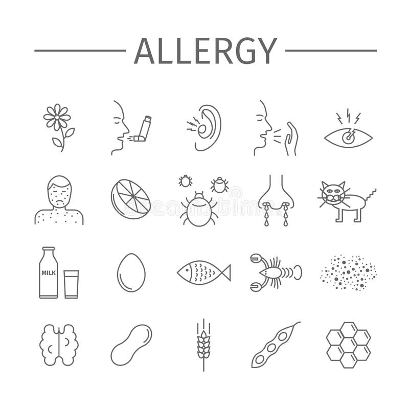 allergie Oorzaken, symptomen Geplaatste lijnpictogrammen Vectortekens vector illustratie