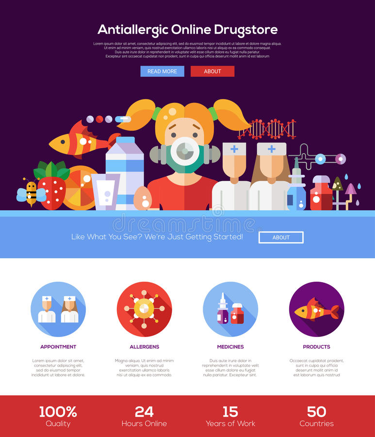 Allergiedrugstorewebsite-Titelfahne mit webdesign Elementen stock abbildung