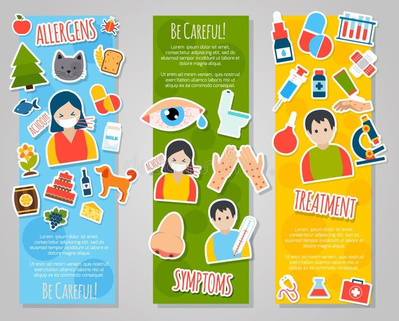 Allergies Banner Set. Allergies vertical banner set with allergen disease symptoms stickers isolated vector illustration vector illustration