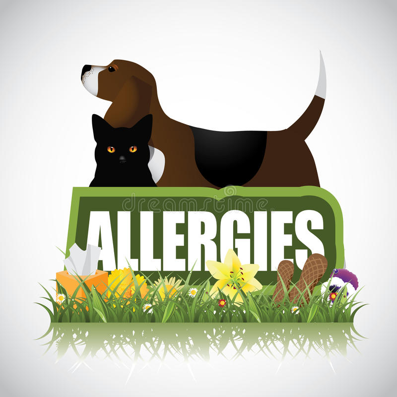 Allergies icon with dog cat plants peanuts royalty free illustration