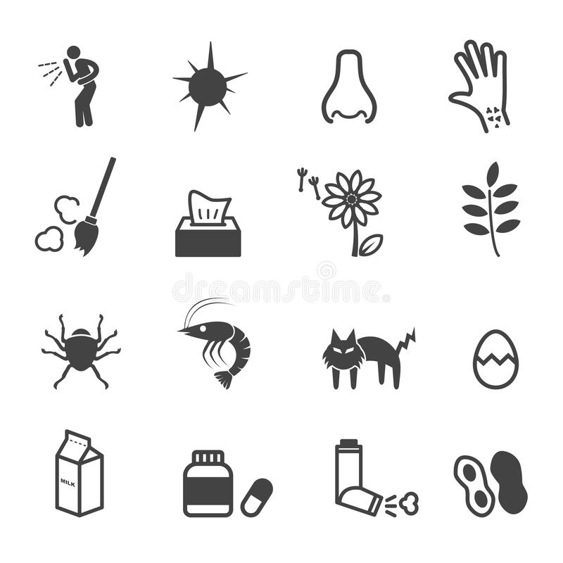 Allergies icons. Mono vector symbols vector illustration