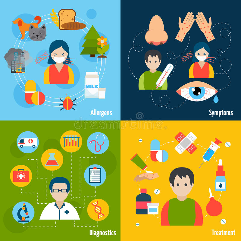 Allergies Icons Set stock illustration
