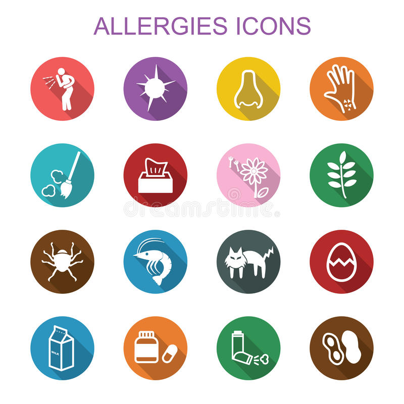 Allergies long shadow icons. Flat symbols vector illustration