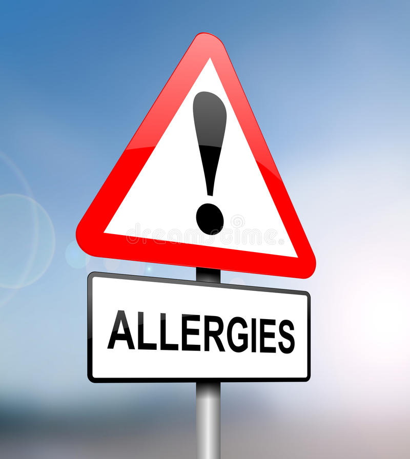 Allergies warning. Illustration depicting a red and white triangular warning sign with an 'allergies' concept. Blurred blue sky background royalty free illustration