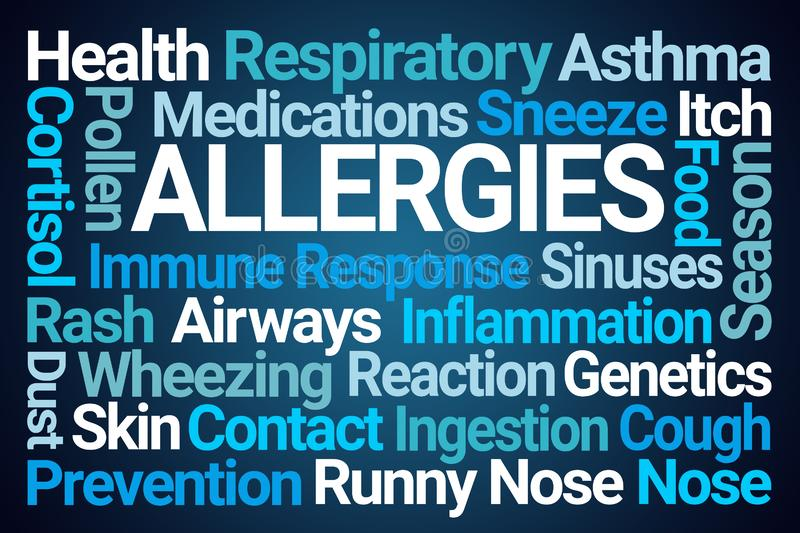 Allergies Word Cloud. On Blue Background royalty free illustration