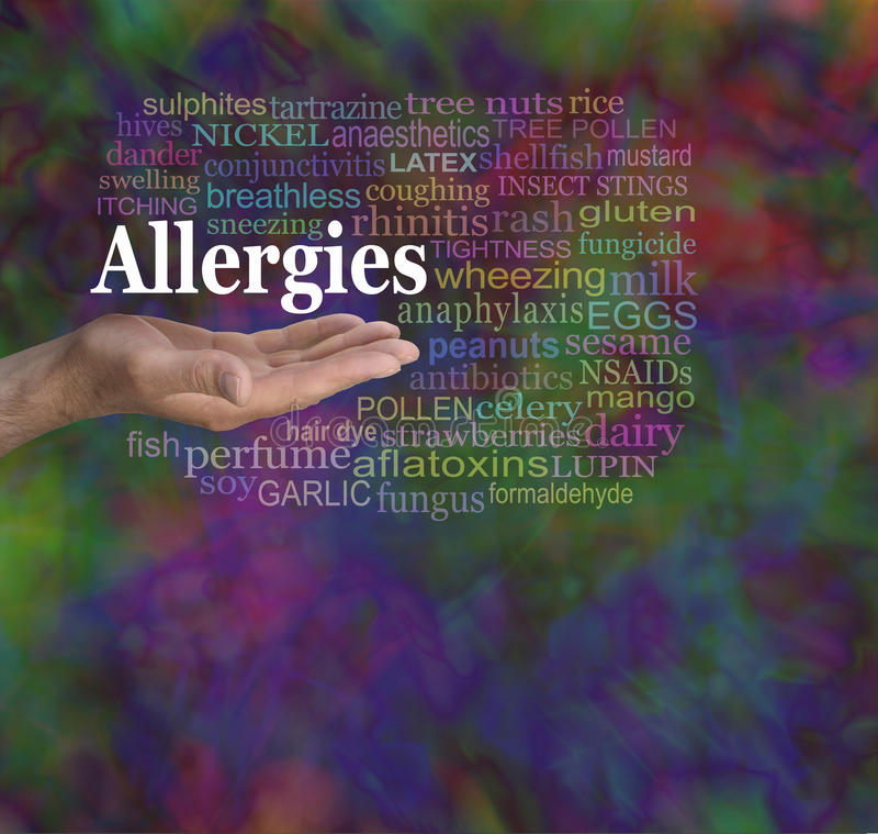 Allergies Word Cloud royalty free stock photo
